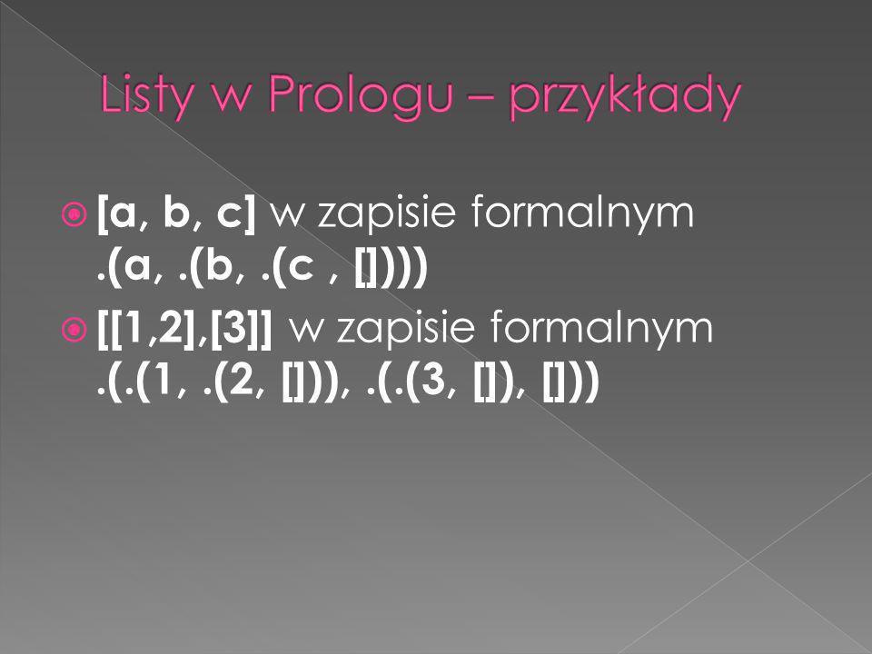 Listy w Prologu – przykłady