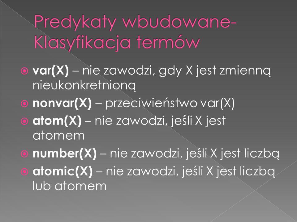 Predykaty wbudowane- Klasyfikacja termów