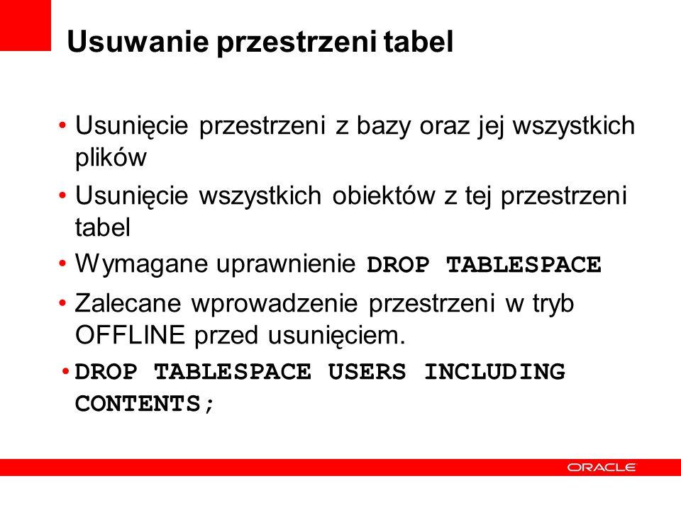 Usuwanie przestrzeni tabel