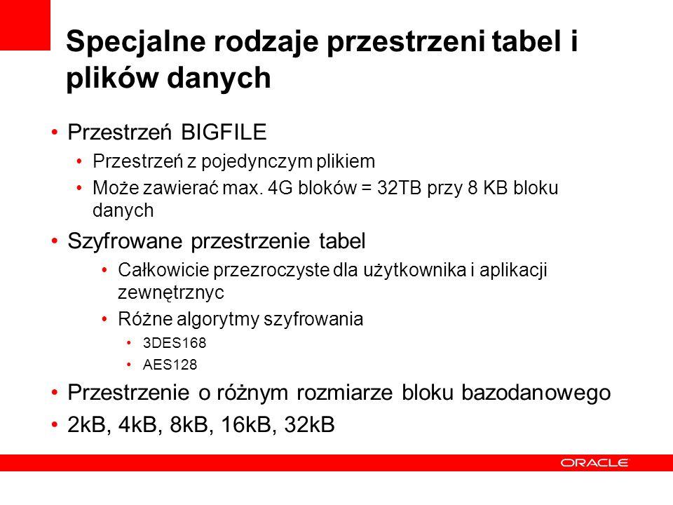 Specjalne rodzaje przestrzeni tabel i plików danych