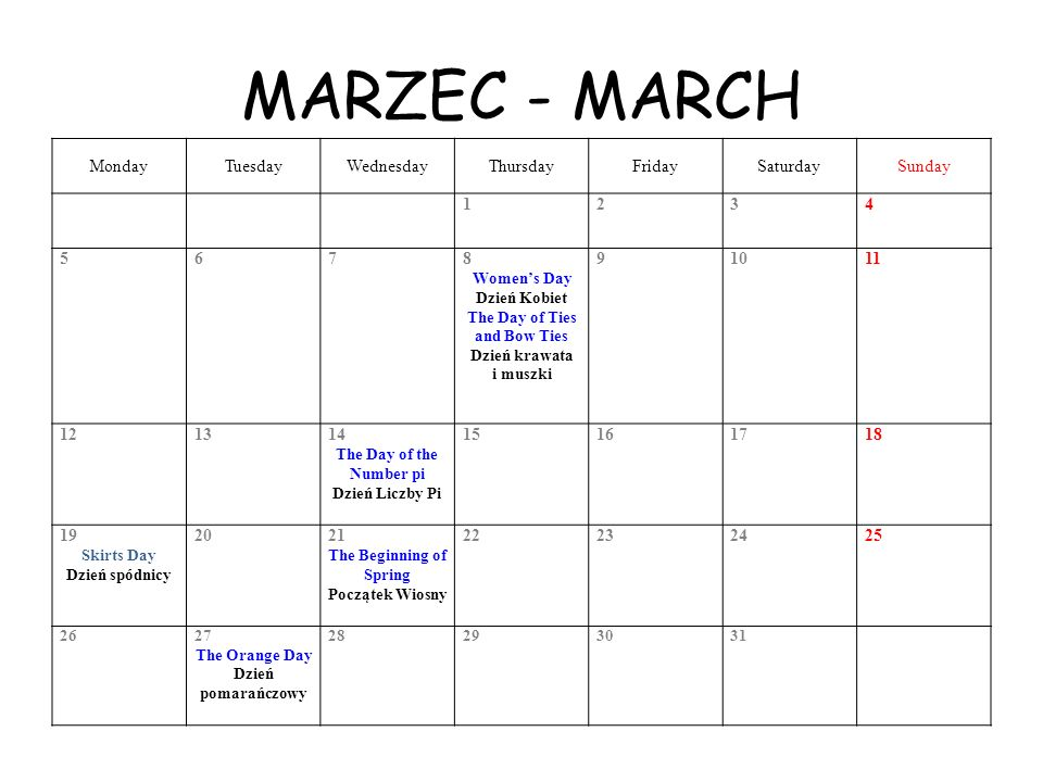 MARZEC - MARCH Monday Tuesday Wednesday Thursday Friday Saturday