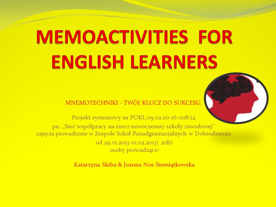 MEMOACTIVITIES FOR ENGLISH LEARNERS