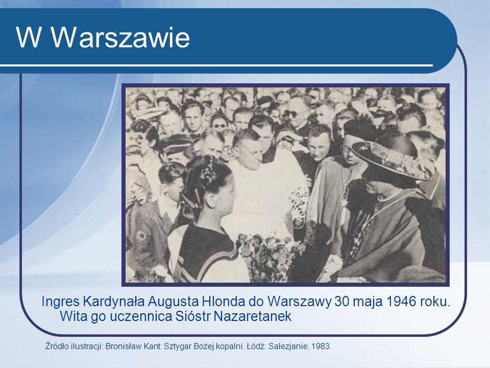 W Warszawie Ingres Kardynała Augusta Hlonda do Warszawy 30 maja 1946 roku. Wita go uczennica Sióstr Nazaretanek.