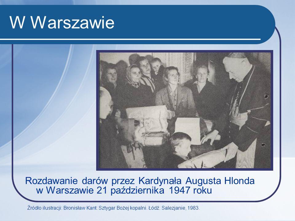 W Warszawie Rozdawanie darów przez Kardynała Augusta Hlonda w Warszawie 21 października 1947 roku.