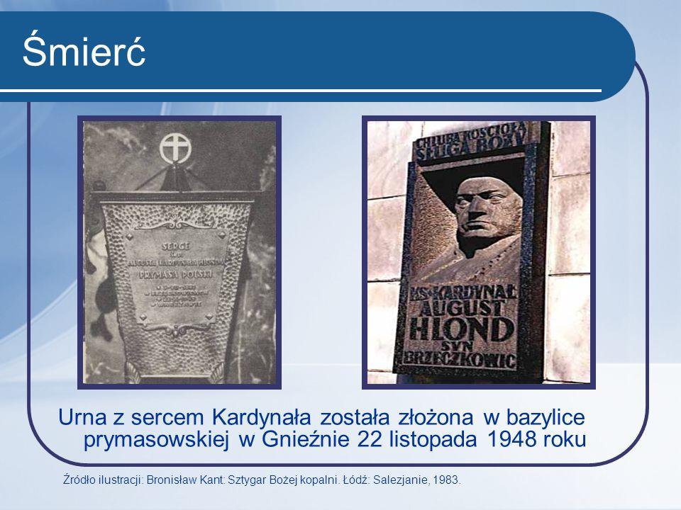 Śmierć Urna z sercem Kardynała została złożona w bazylice prymasowskiej w Gnieźnie 22 listopada 1948 roku.