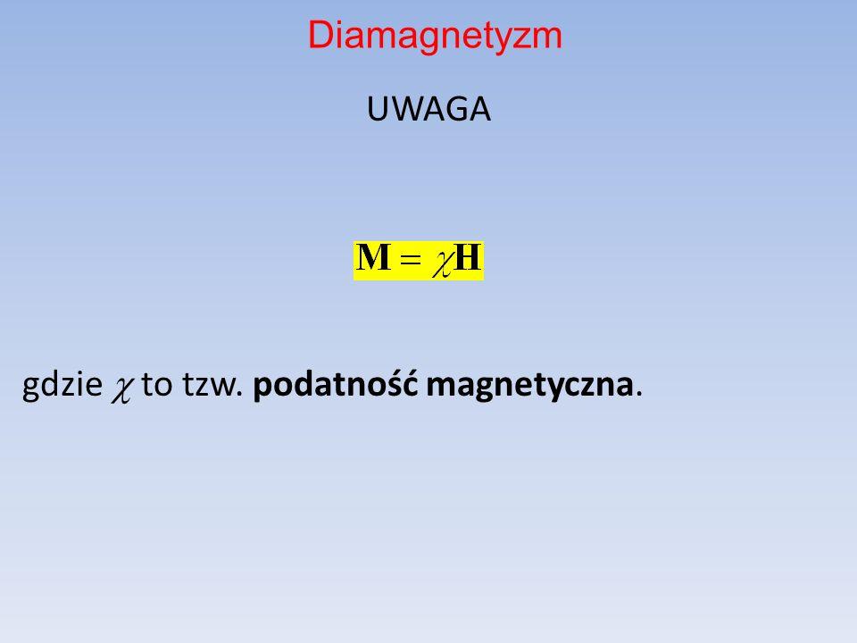UWAGA gdzie  to tzw. podatność magnetyczna.