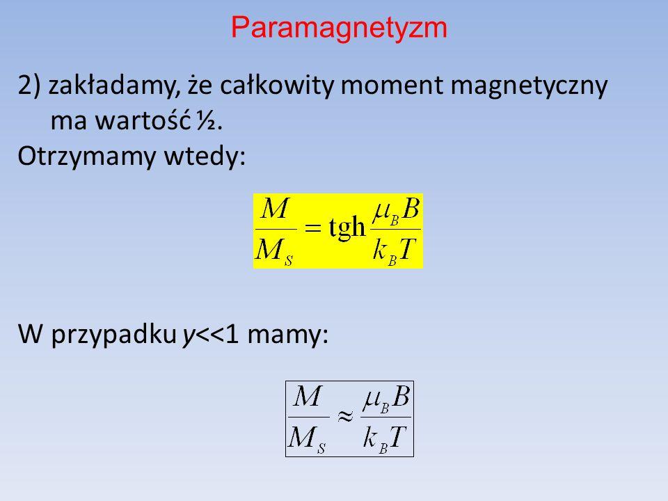 Paramagnetyzm 2) zakładamy, że całkowity moment magnetyczny ma wartość ½.