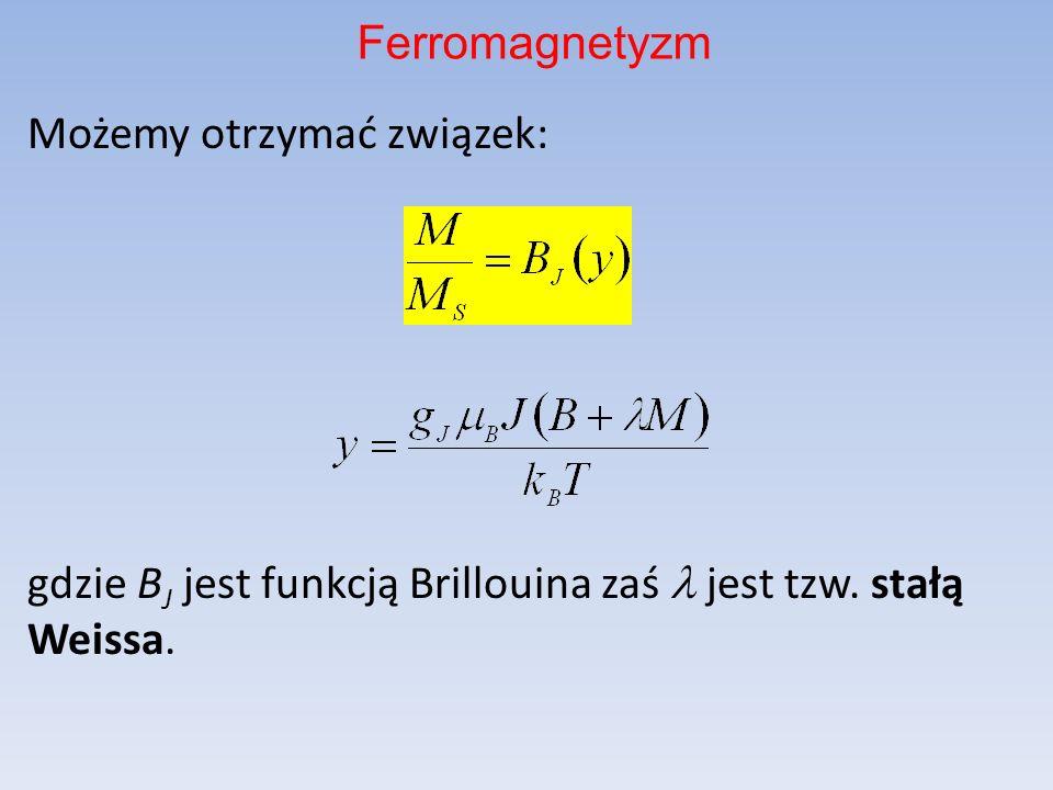 Ferromagnetyzm Możemy otrzymać związek: gdzie BJ jest funkcją Brillouina zaś l jest tzw.