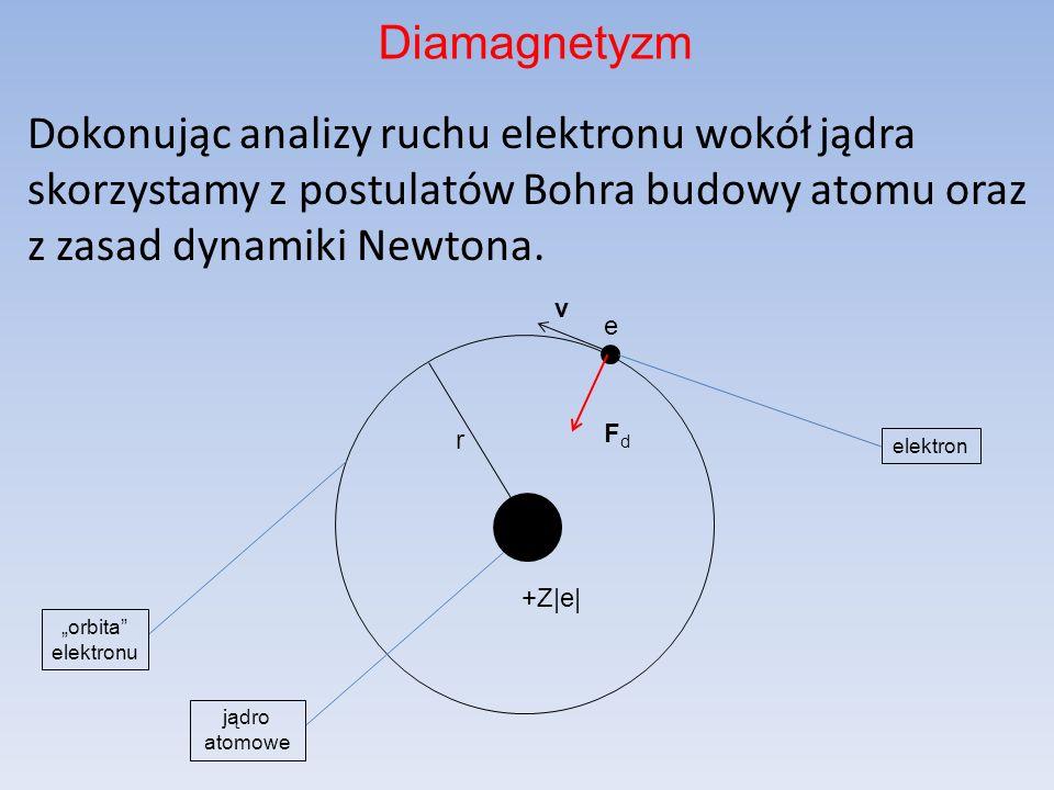 DiamagnetyzmDokonując analizy ruchu elektronu wokół jądra skorzystamy z postulatów Bohra budowy atomu oraz z zasad dynamiki Newtona.