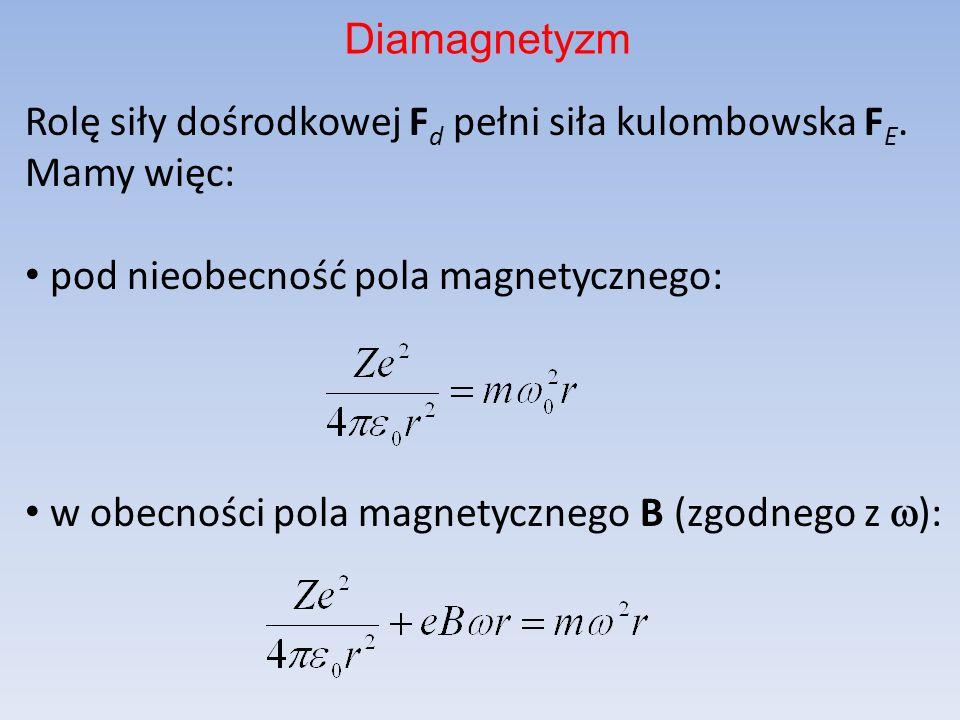 Diamagnetyzm Rolę siły dośrodkowej Fd pełni siła kulombowska FE. Mamy więc: pod nieobecność pola magnetycznego: