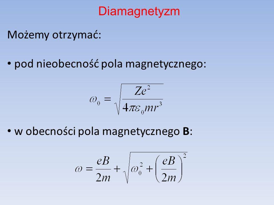 Diamagnetyzm Możemy otrzymać: pod nieobecność pola magnetycznego: w obecności pola magnetycznego B: