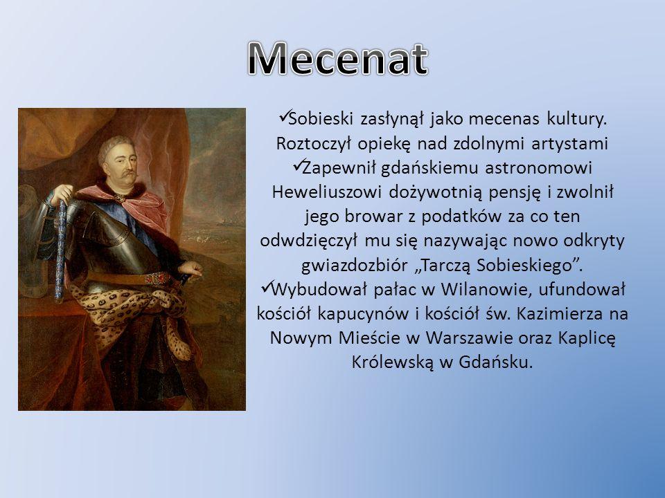 MecenatSobieski zasłynął jako mecenas kultury. Roztoczył opiekę nad zdolnymi artystami.