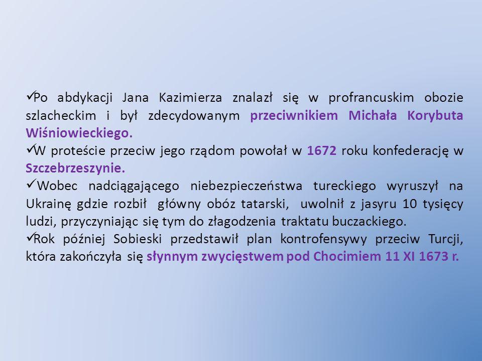 Po abdykacji Jana Kazimierza znalazł się w profrancuskim obozie szlacheckim i był zdecydowanym przeciwnikiem Michała Korybuta Wiśniowieckiego.