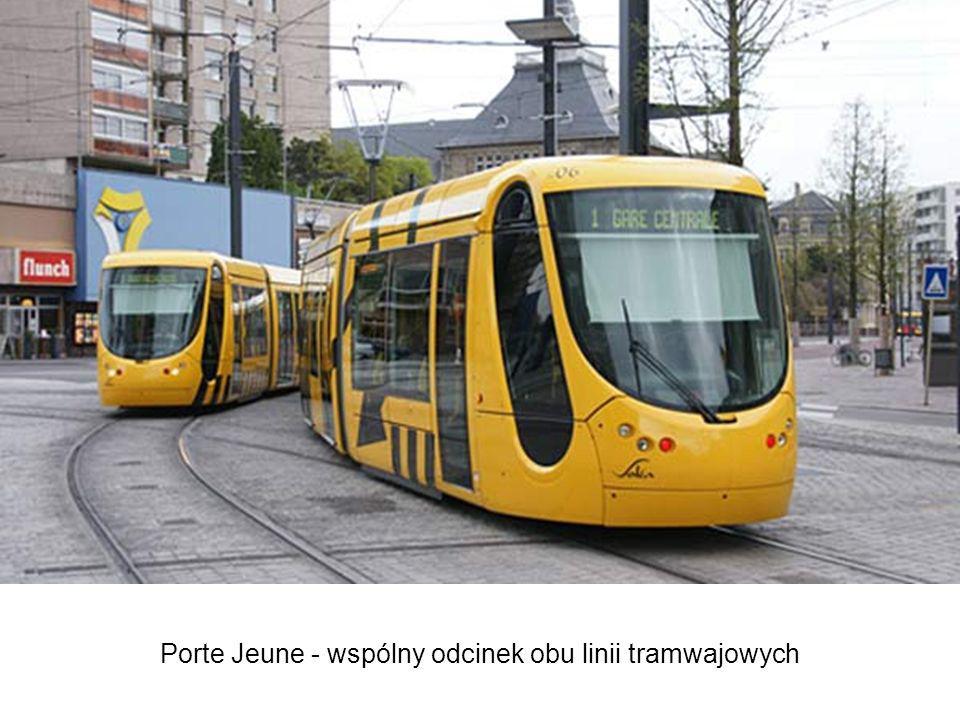 Porte Jeune - wspólny odcinek obu linii tramwajowych