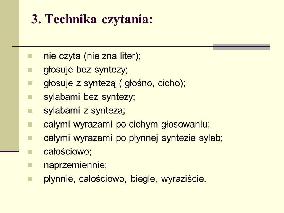 3. Technika czytania: nie czyta (nie zna liter); głosuje bez syntezy;
