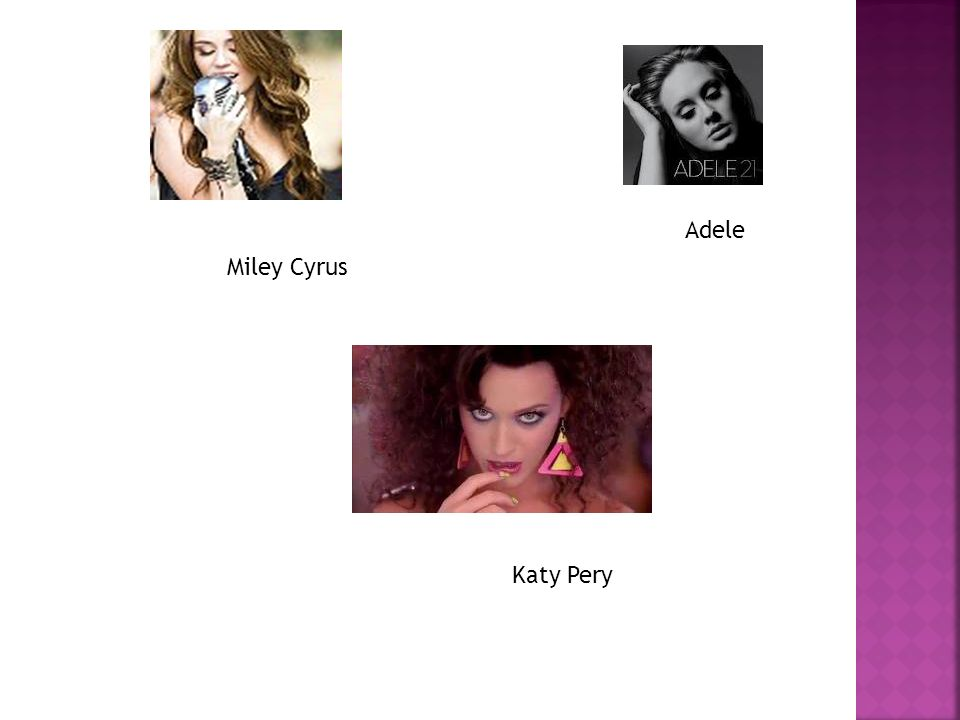 Adele Miley Cyrus Katy Pery