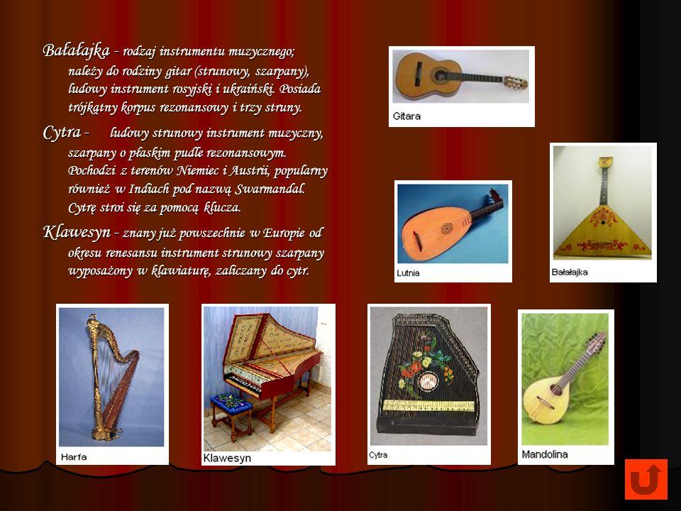 Bałałajka - rodzaj instrumentu muzycznego; należy do rodziny gitar (strunowy, szarpany), ludowy instrument rosyjski i ukraiński. Posiada trójkątny korpus rezonansowy i trzy struny.