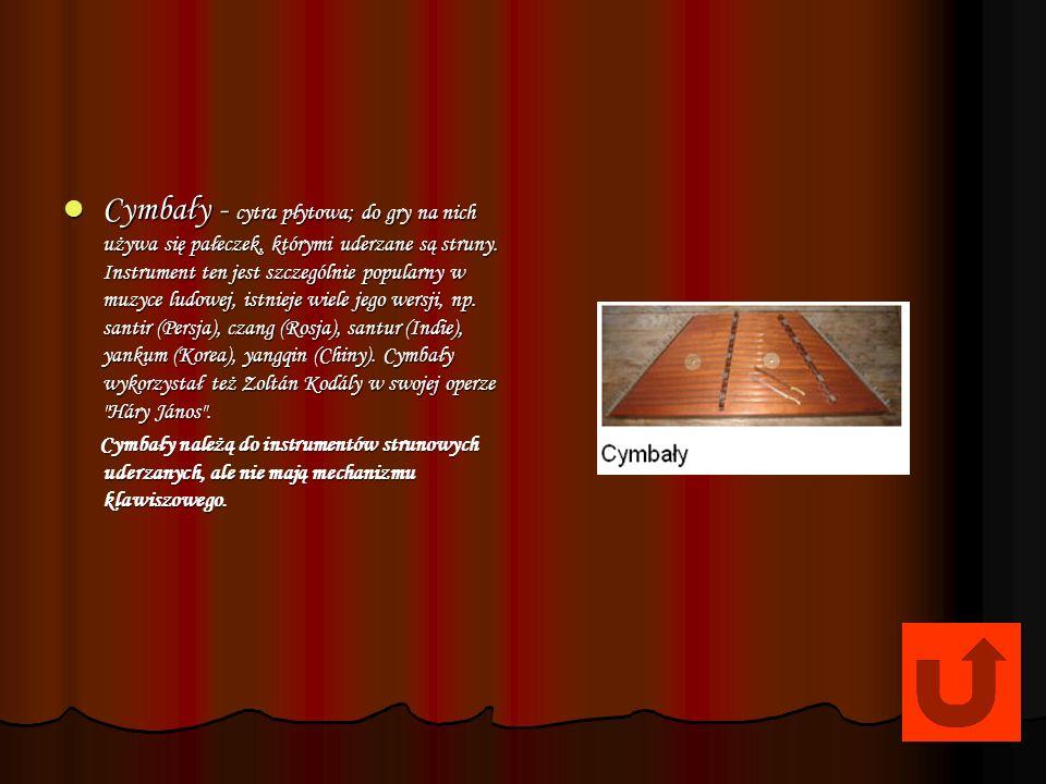 Cymbały - cytra płytowa; do gry na nich używa się pałeczek, którymi uderzane są struny. Instrument ten jest szczególnie popularny w muzyce ludowej, istnieje wiele jego wersji, np. santir (Persja), czang (Rosja), santur (Indie), yankum (Korea), yangqin (Chiny). Cymbały wykorzystał też Zoltán Kodály w swojej operze Háry János .