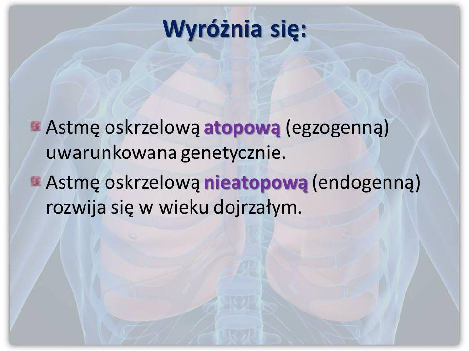 Wyróżnia się: Astmę oskrzelową atopową (egzogenną) uwarunkowana genetycznie.