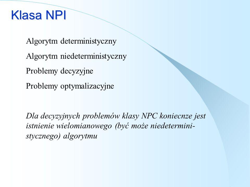 Klasa NPI Algorytm deterministyczny Algorytm niedeterministyczny