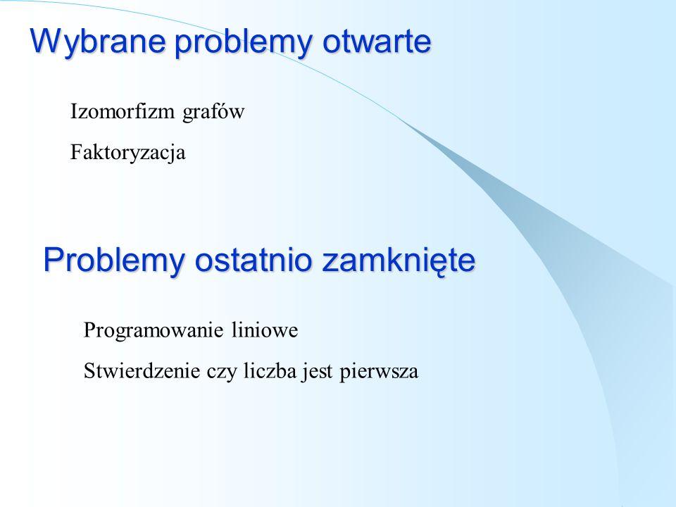 Wybrane problemy otwarte