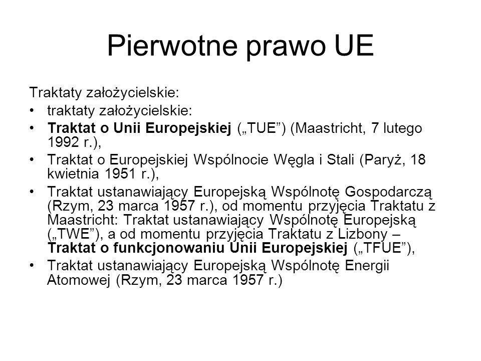 Pierwotne prawo UE Traktaty założycielskie: traktaty założycielskie: