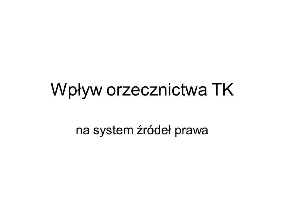 Wpływ orzecznictwa TK na system źródeł prawa