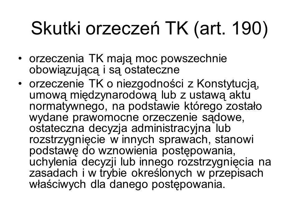 Skutki orzeczeń TK (art. 190)