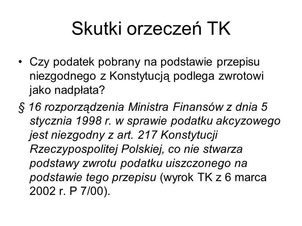 Skutki orzeczeń TK Czy podatek pobrany na podstawie przepisu niezgodnego z Konstytucją podlega zwrotowi jako nadpłata