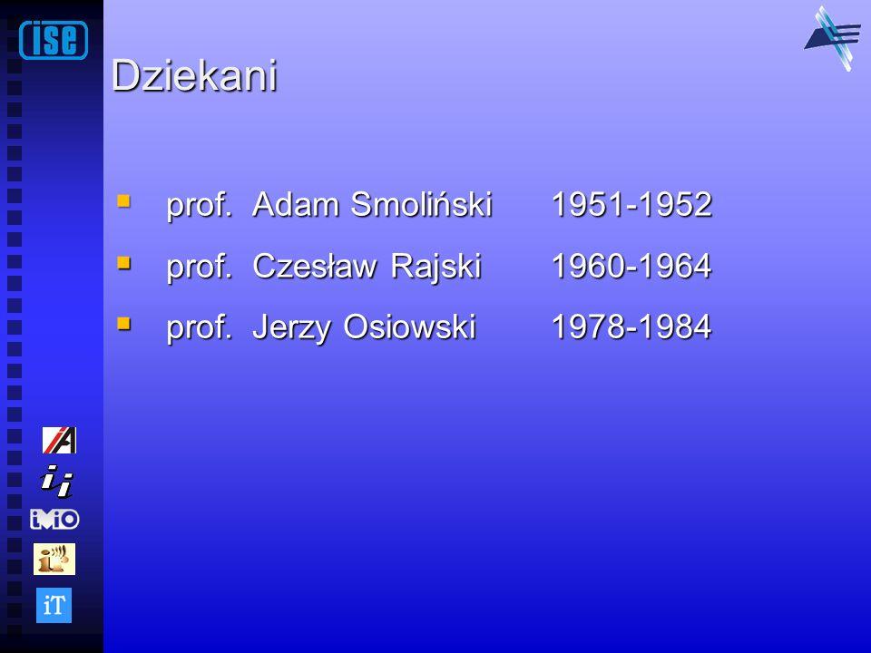 Dziekani prof. Adam Smoliński 1951-1952 prof. Czesław Rajski 1960-1964