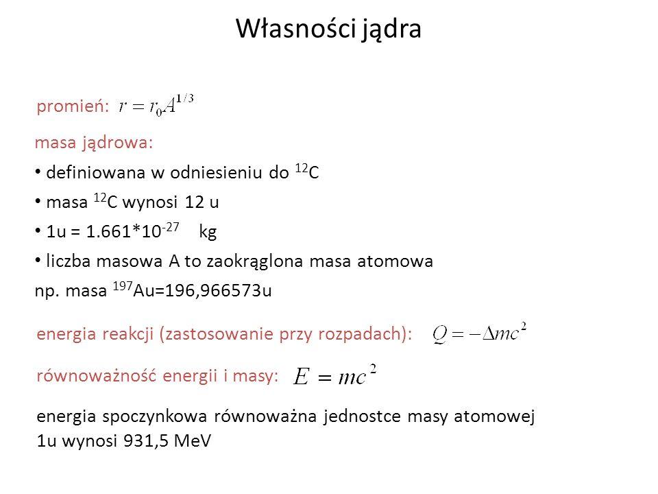 Własności jądra promień: masa jądrowa:
