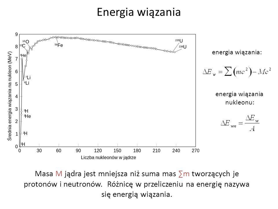 Energia wiązania energia wiązania: energia wiązania. nukleonu: