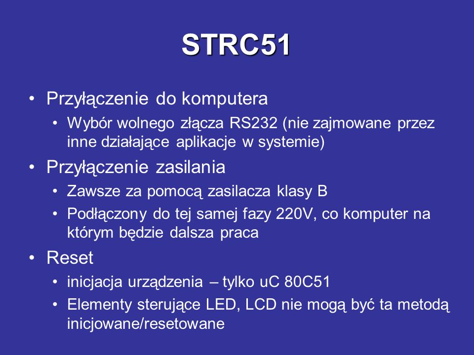 STRC51 Przyłączenie do komputera Przyłączenie zasilania Reset