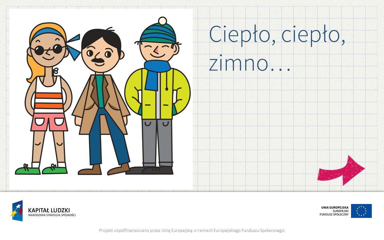 Ciepło, ciepło, zimno… Projekt współfinansowany przez Unię Europejską w ramach Europejskiego Funduszu Społecznego.
