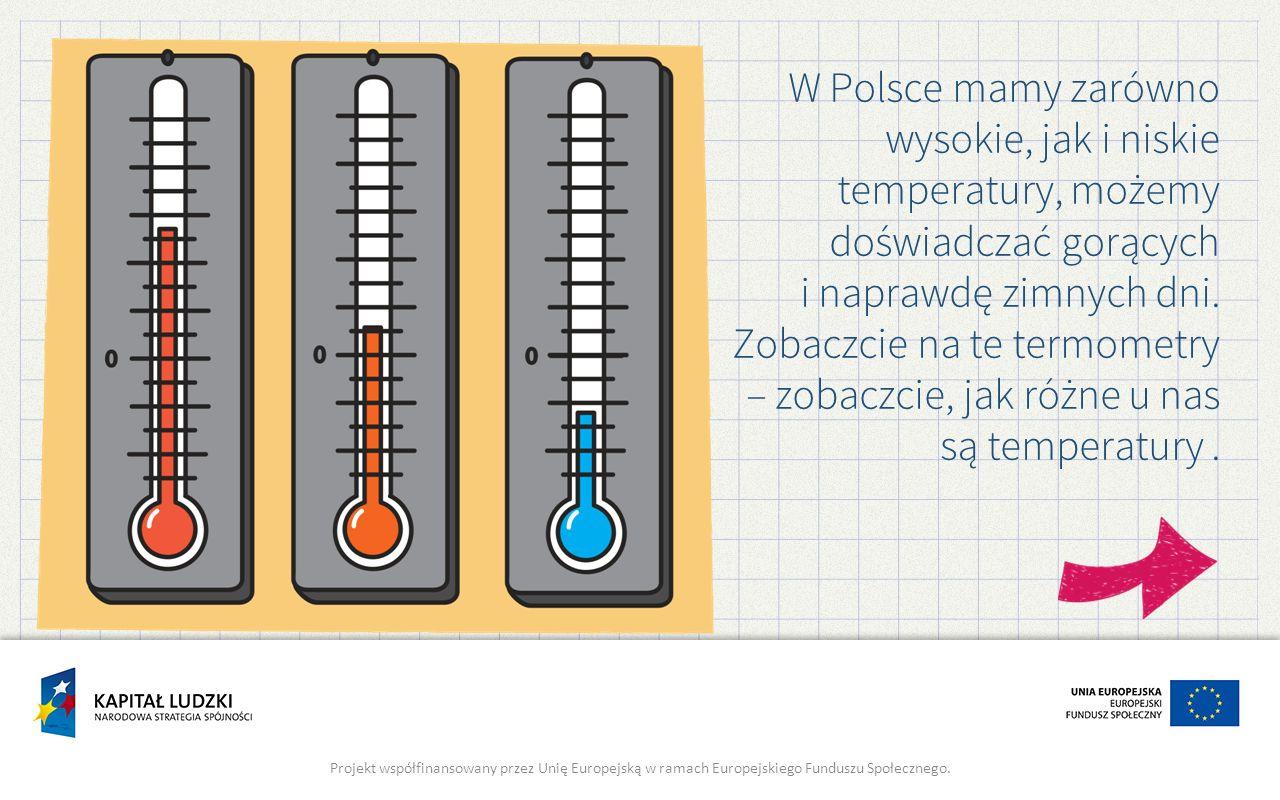 W Polsce mamy zarówno wysokie, jak i niskie temperatury, możemy doświadczać gorących i naprawdę zimnych dni. Zobaczcie na te termometry – zobaczcie, jak różne u nas są temperatury .