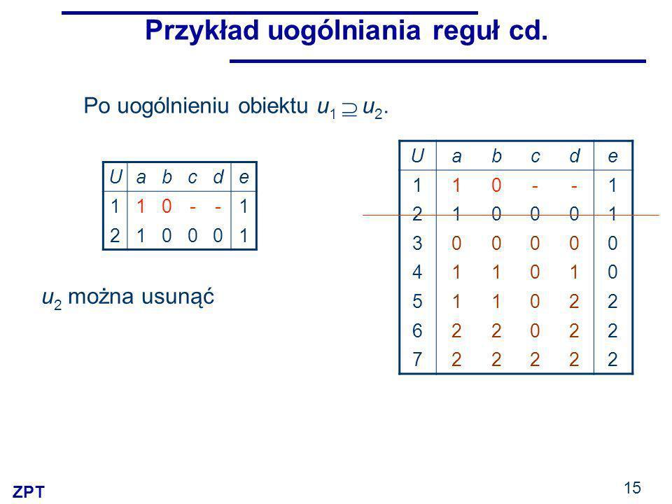 Przykład uogólniania reguł cd.