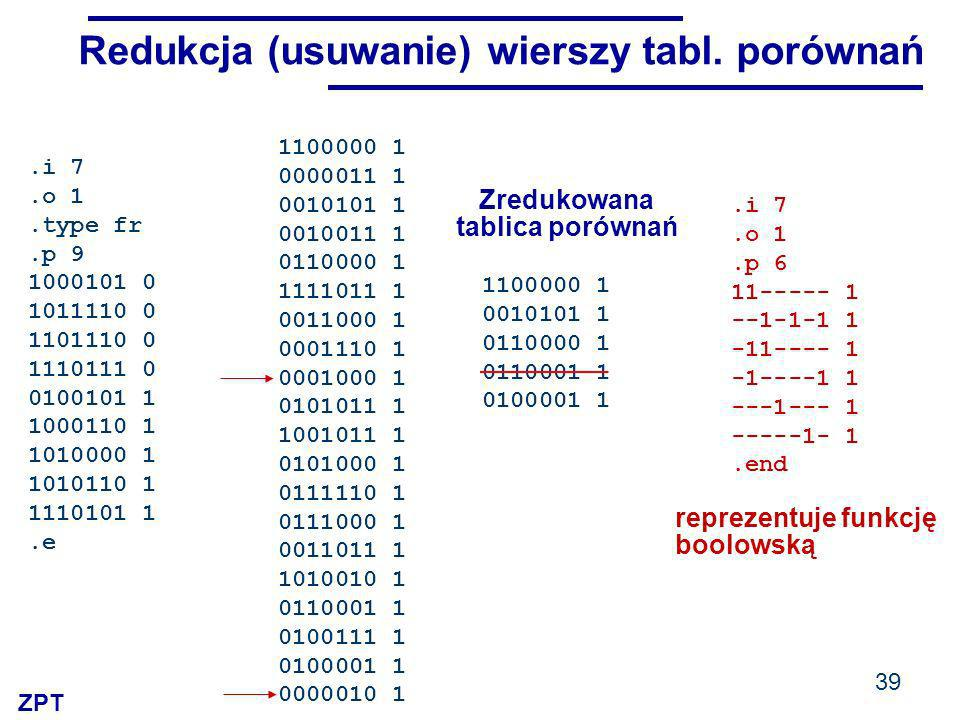 Redukcja (usuwanie) wierszy tabl. porównań