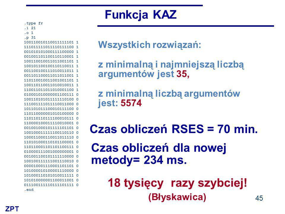 Czas obliczeń RSES = 70 min.