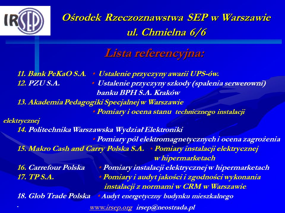 Ośrodek Rzeczoznawstwa SEP w Warszawie ul. Chmielna 6/6