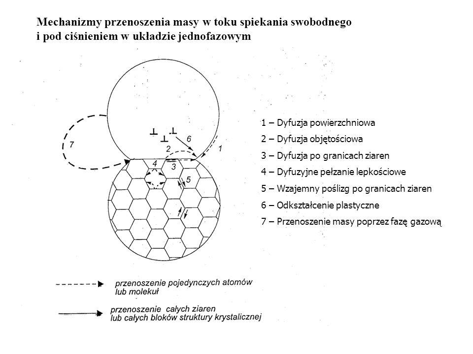 Mechanizmy przenoszenia masy w toku spiekania swobodnego i pod ciśnieniem w układzie jednofazowym