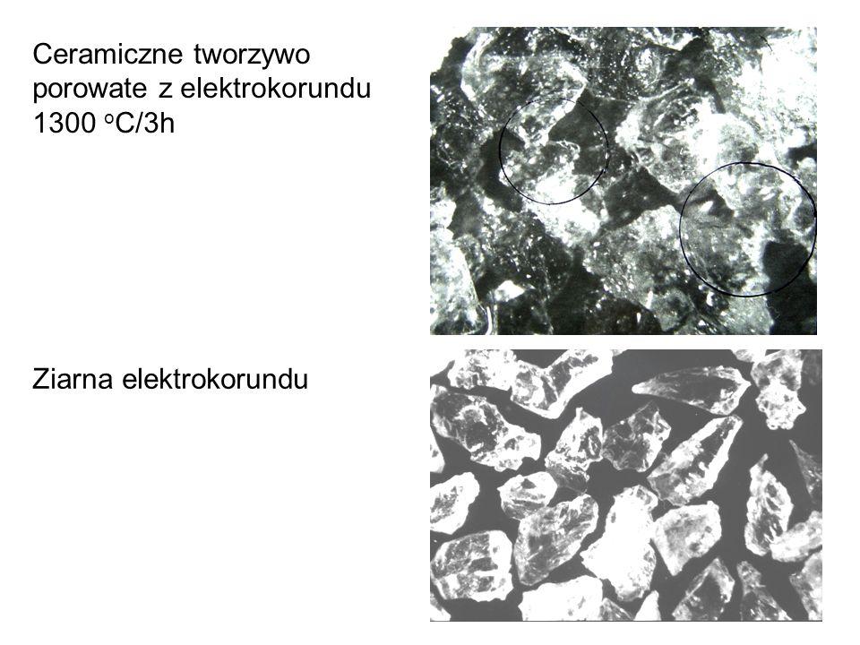 Ceramiczne tworzywo porowate z elektrokorundu 1300 oC/3h