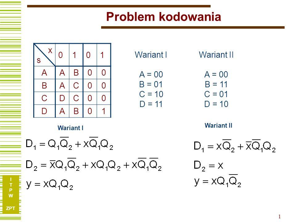 Problem kodowania x s 1 A B C D Wariant I A = 00 B = 01 C = 10 D = 11