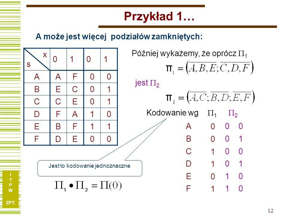 Przykład 1… A może jest więcej podziałów zamkniętych: x s 1 A F B E C