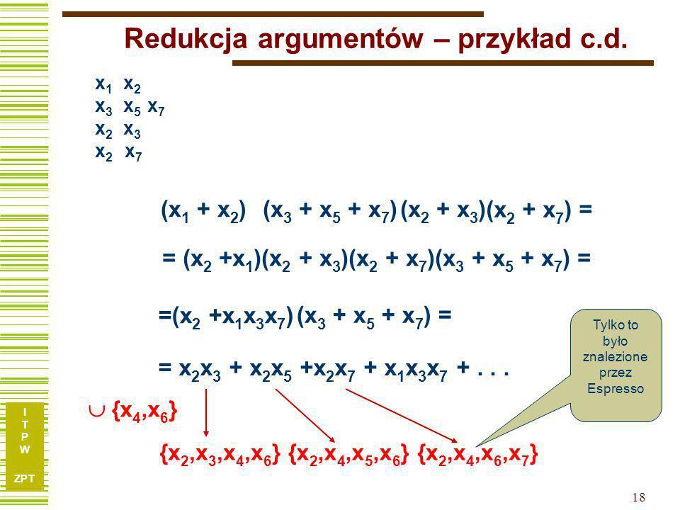 Redukcja argumentów – przykład c.d.