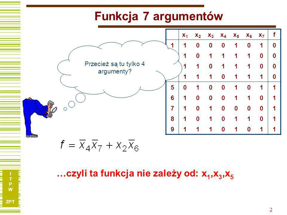 …czyli ta funkcja nie zależy od: x1,x3,x5