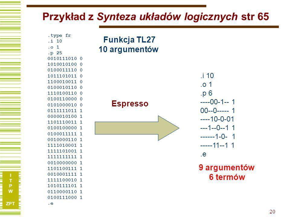 Przykład z Synteza układów logicznych str 65