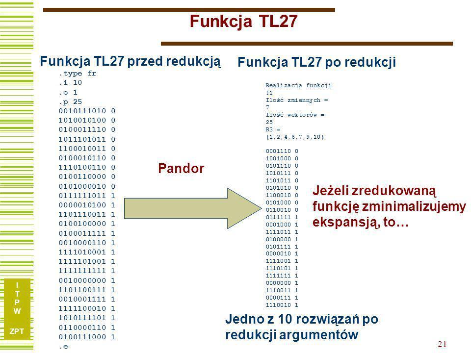 Funkcja TL27 Funkcja TL27 przed redukcją Funkcja TL27 po redukcji