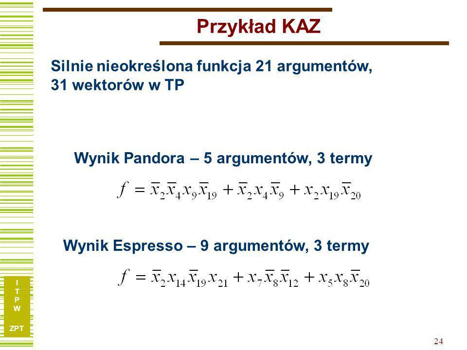 Przykład KAZ Silnie nieokreślona funkcja 21 argumentów, 31 wektorów w TP. Wynik Pandora – 5 argumentów, 3 termy.