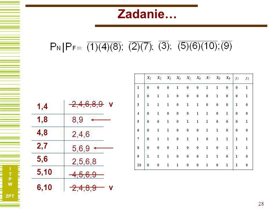 Zadanie… X1. X2. X3. X4. X5. X6. X7. X8. X9. y1. y2. 1. 2. 3. 4. 5. 6. 7. 8. 9. 10.