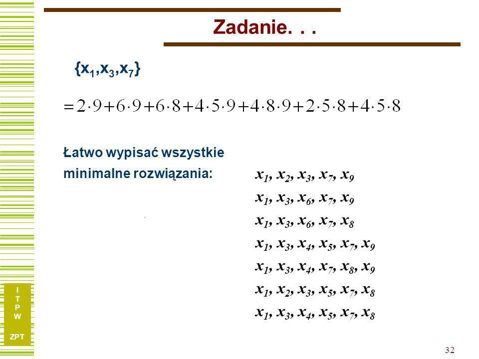 Zadanie. . . {x1,x3,x7} Łatwo wypisać wszystkie. minimalne rozwiązania: